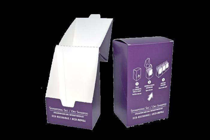 Boîte shampoing sec avec découpe