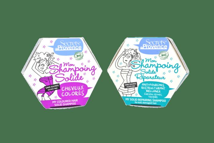 Boîtes de shampoing hexagonales bleue et rose