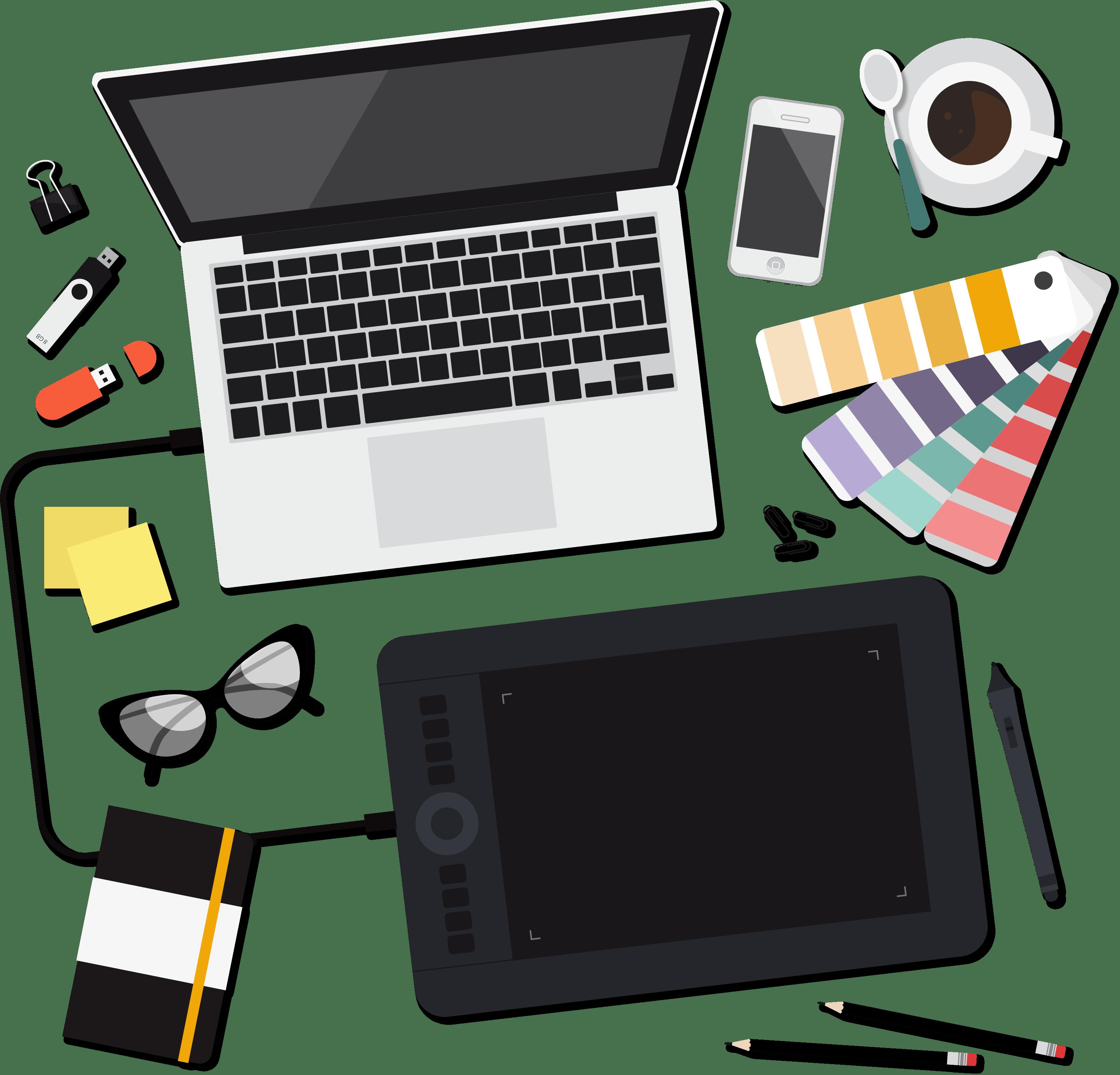 Illustration d'un bureau de graphiste