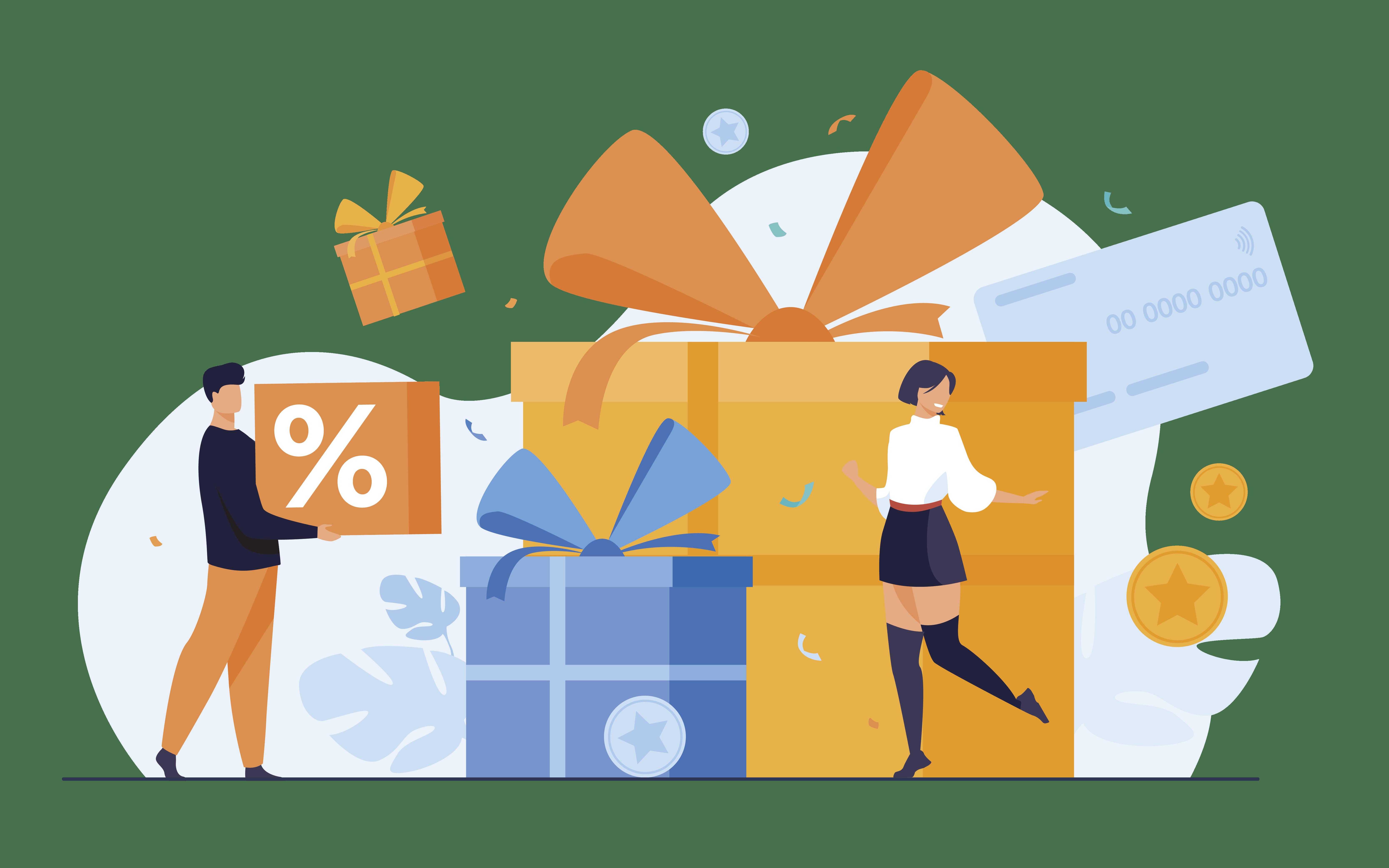 Illustration avec des cadeaux